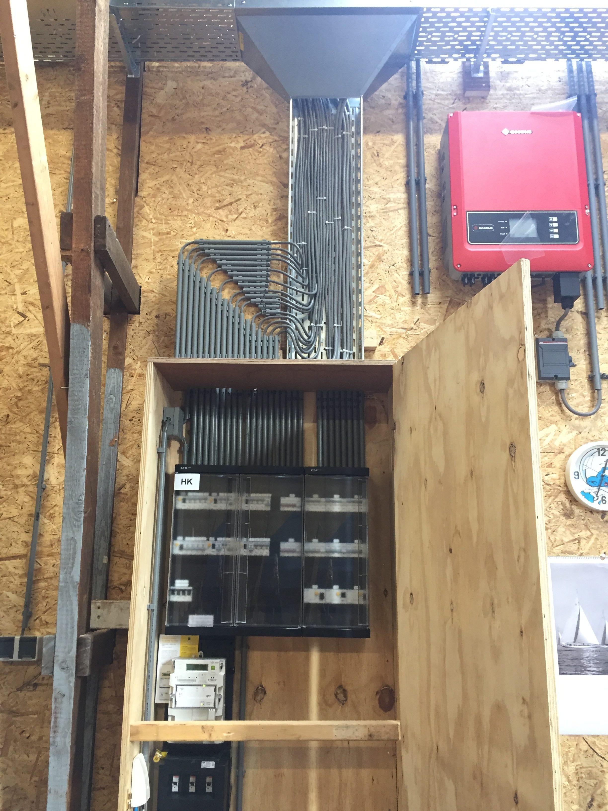 Aanleggen electrische installatie bedrijfshal.